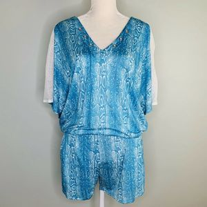Ramy Brook Apres Romper Turquoise White Pockets